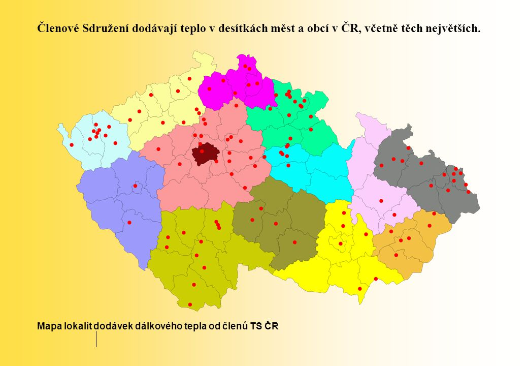 Členové Sdružení dodávají teplo v desítkách měst a obcí v ČR, včetně těch největších.