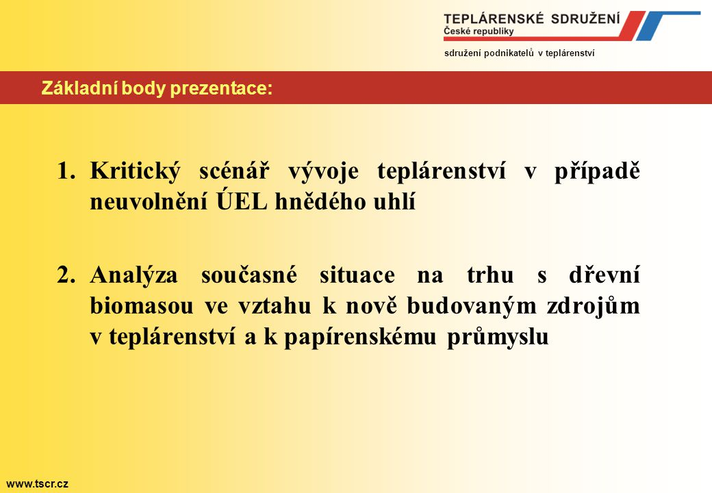 Základní body prezentace: