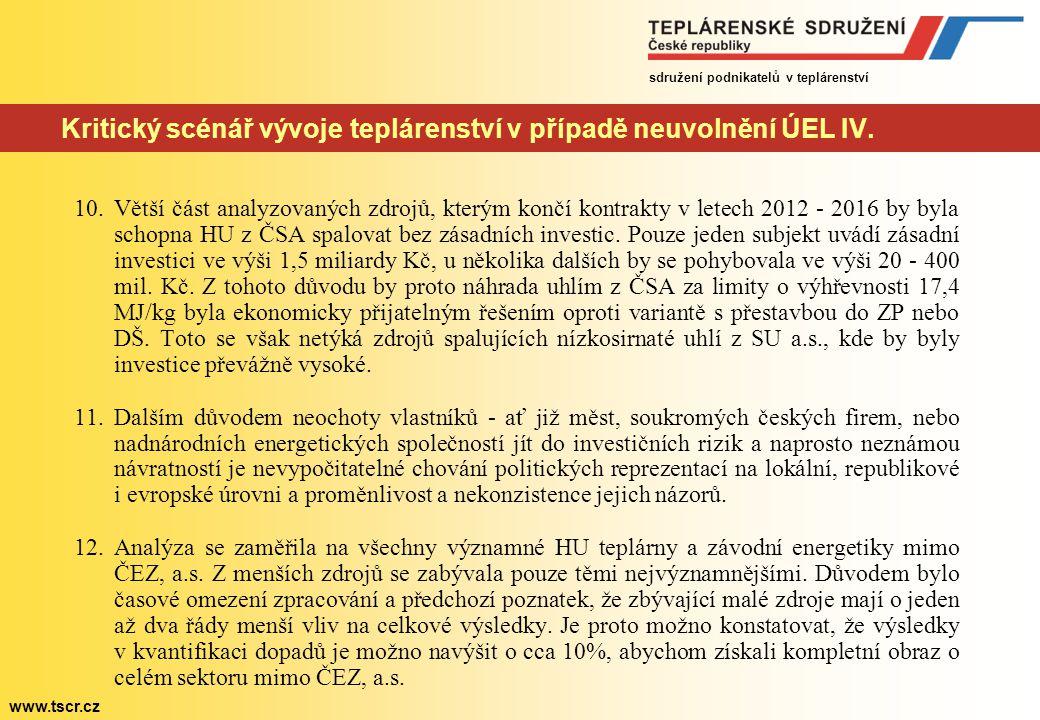 Kritický scénář vývoje teplárenství v případě neuvolnění ÚEL IV.