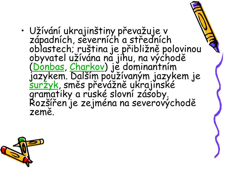 Užívání ukrajinštiny převažuje v západních, severních a středních oblastech; ruština je přibližně polovinou obyvatel užívána na jihu, na východě (Donbas, Charkov) je dominantním jazykem.