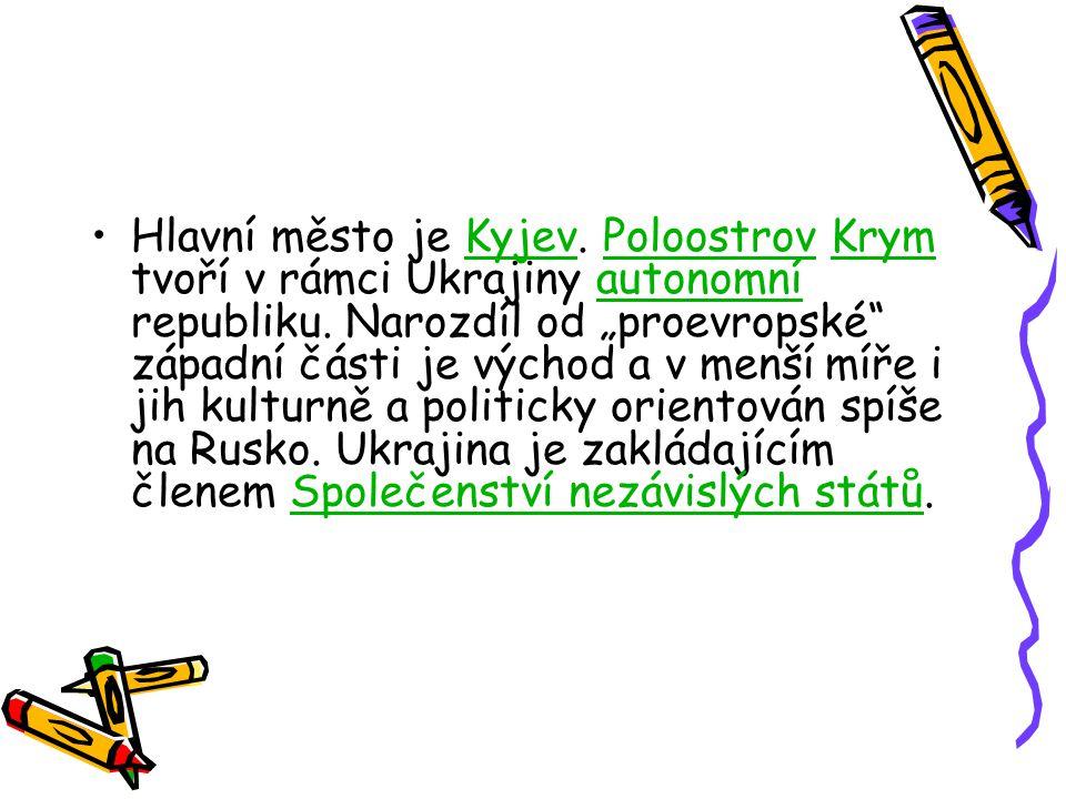 Hlavní město je Kyjev. Poloostrov Krym tvoří v rámci Ukrajiny autonomní republiku.