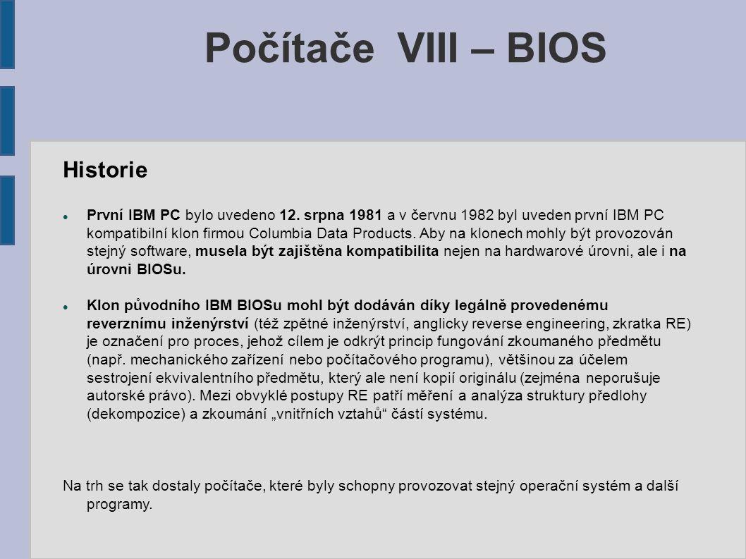 Počítače VIII – BIOS Historie