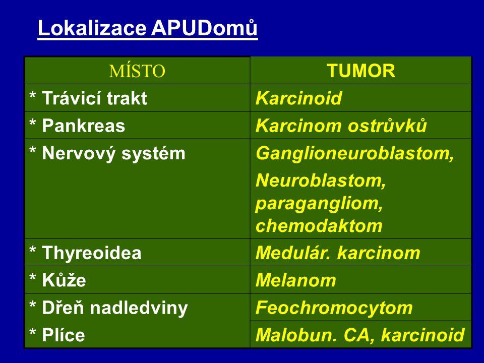 Lokalizace APUDomů MÍSTO TUMOR * Trávicí trakt Karcinoid * Pankreas