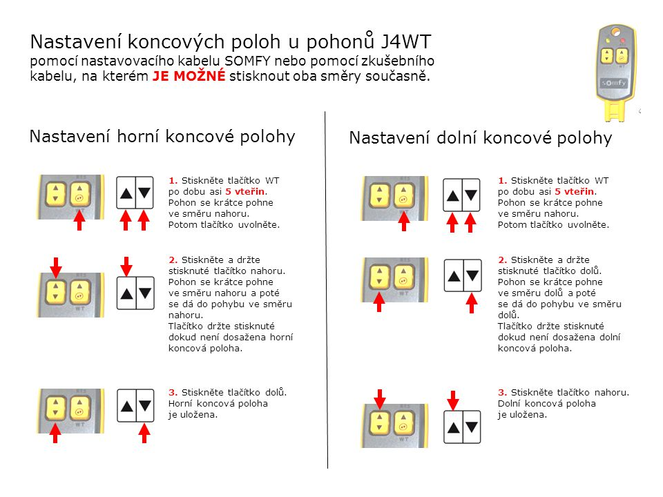 Nastavení koncových poloh u pohonů J4WT