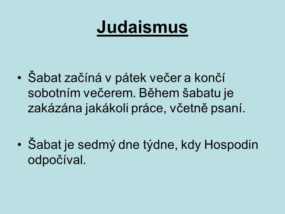 Judaismus Šabat začíná v pátek večer a končí sobotním večerem. Během šabatu je zakázána jakákoli práce, včetně psaní.