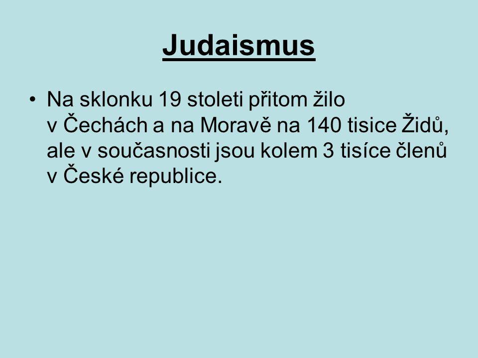 Judaismus Na sklonku 19 stoleti přitom žilo v Čechách a na Moravě na 140 tisice Židů, ale v současnosti jsou kolem 3 tisíce členů v České republice.