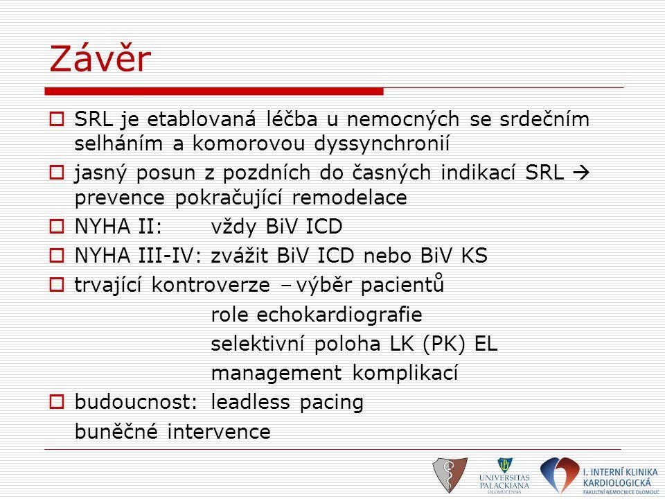 Závěr SRL je etablovaná léčba u nemocných se srdečním selháním a komorovou dyssynchronií.