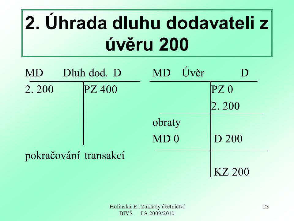 2. Úhrada dluhu dodavateli z úvěru 200