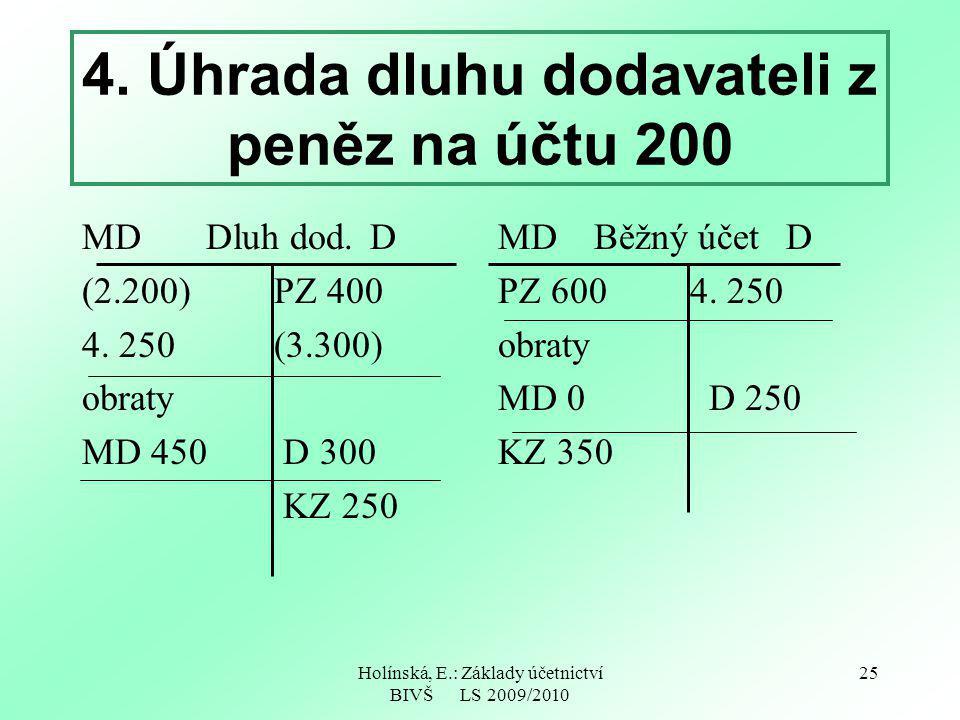 4. Úhrada dluhu dodavateli z peněz na účtu 200