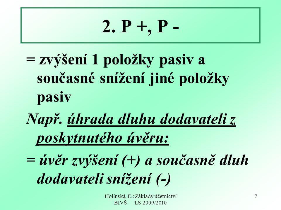 Holínská, E.: Základy účetnictví BIVŠ LS 2009/2010