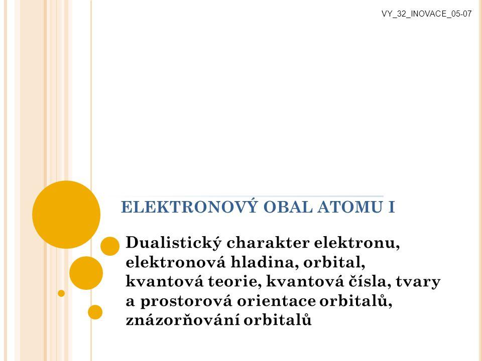 ELEKTRONOVÝ OBAL ATOMU I