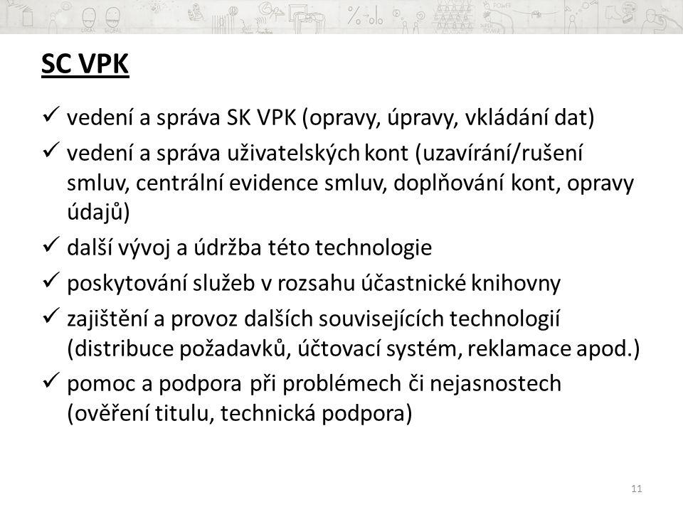 SC VPK vedení a správa SK VPK (opravy, úpravy, vkládání dat)