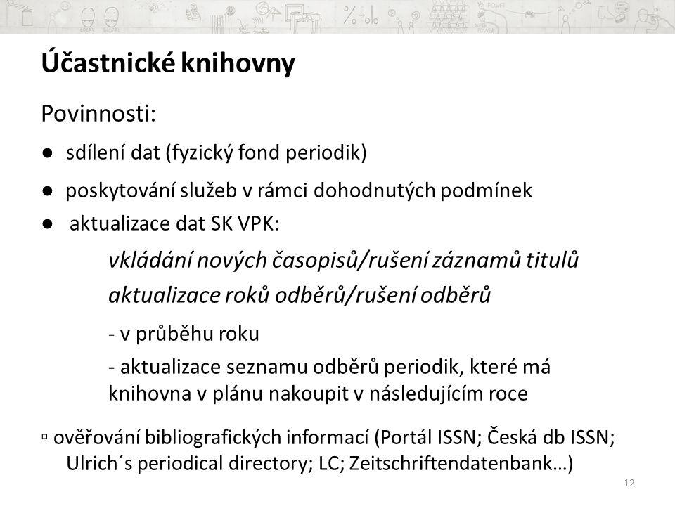Účastnické knihovny Povinnosti: