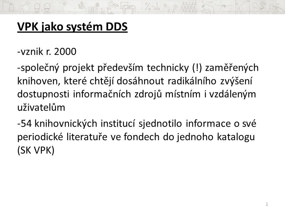 VPK jako systém DDS vznik r. 2000