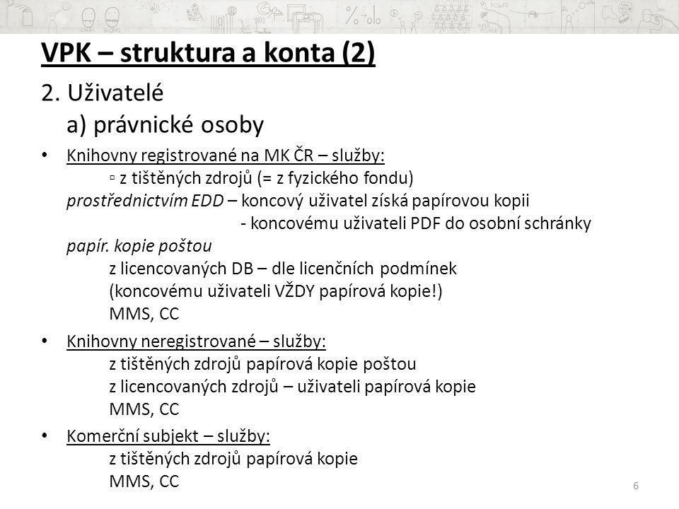 VPK – struktura a konta (2)