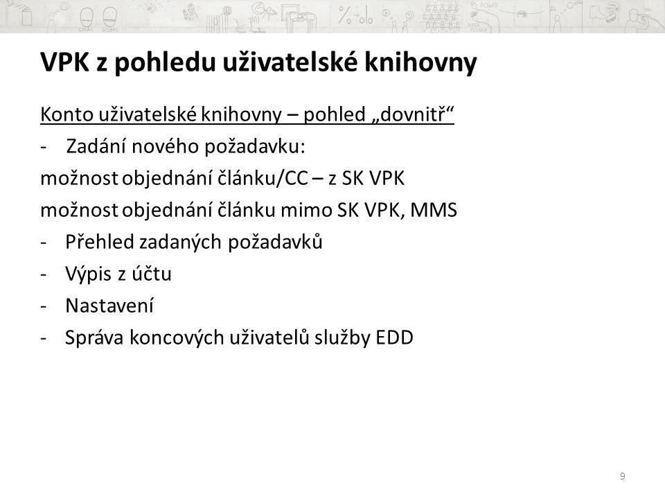 VPK z pohledu uživatelské knihovny