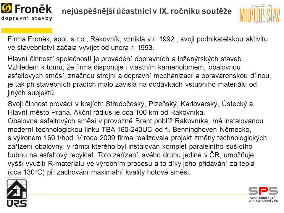 Firma Froněk, spol. s r. o. , Rakovník, vznikla v r
