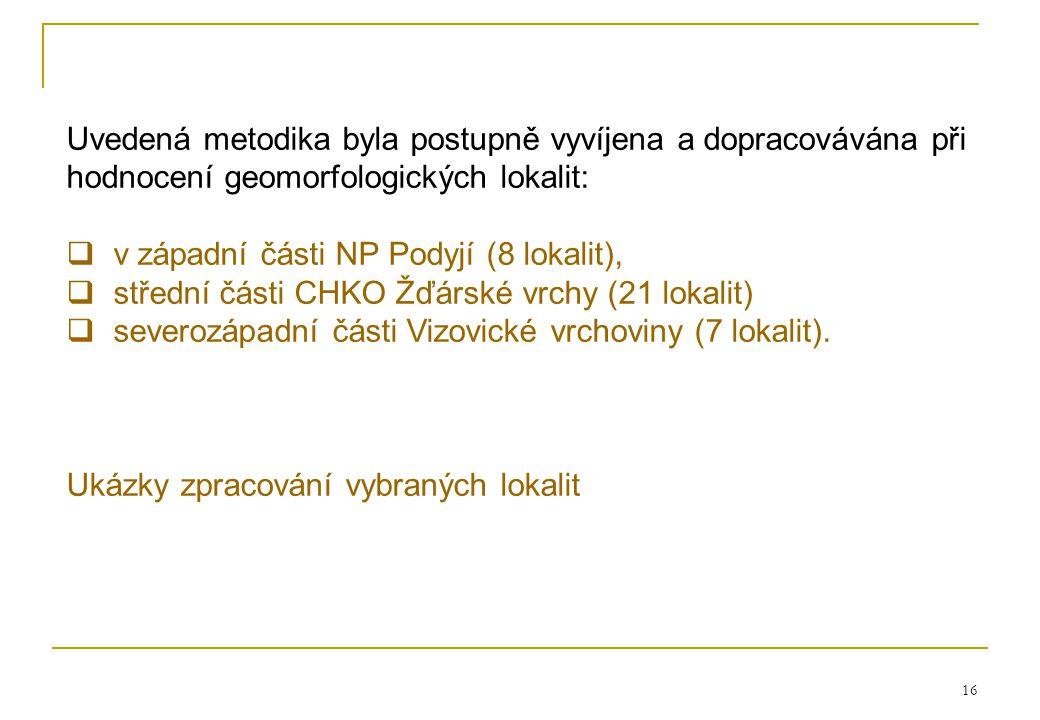 v západní části NP Podyjí (8 lokalit),