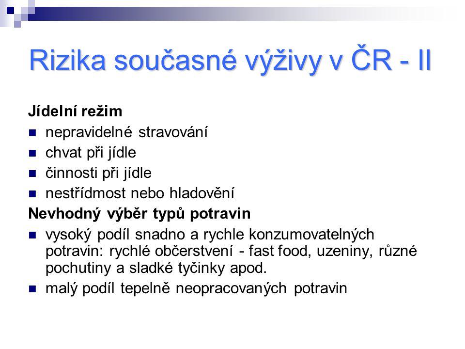 Rizika současné výživy v ČR - II