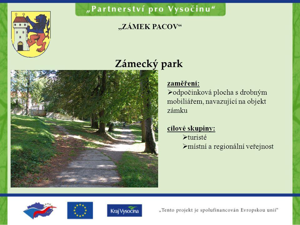 """Zámecký park """"ZÁMEK PACOV zaměření:"""
