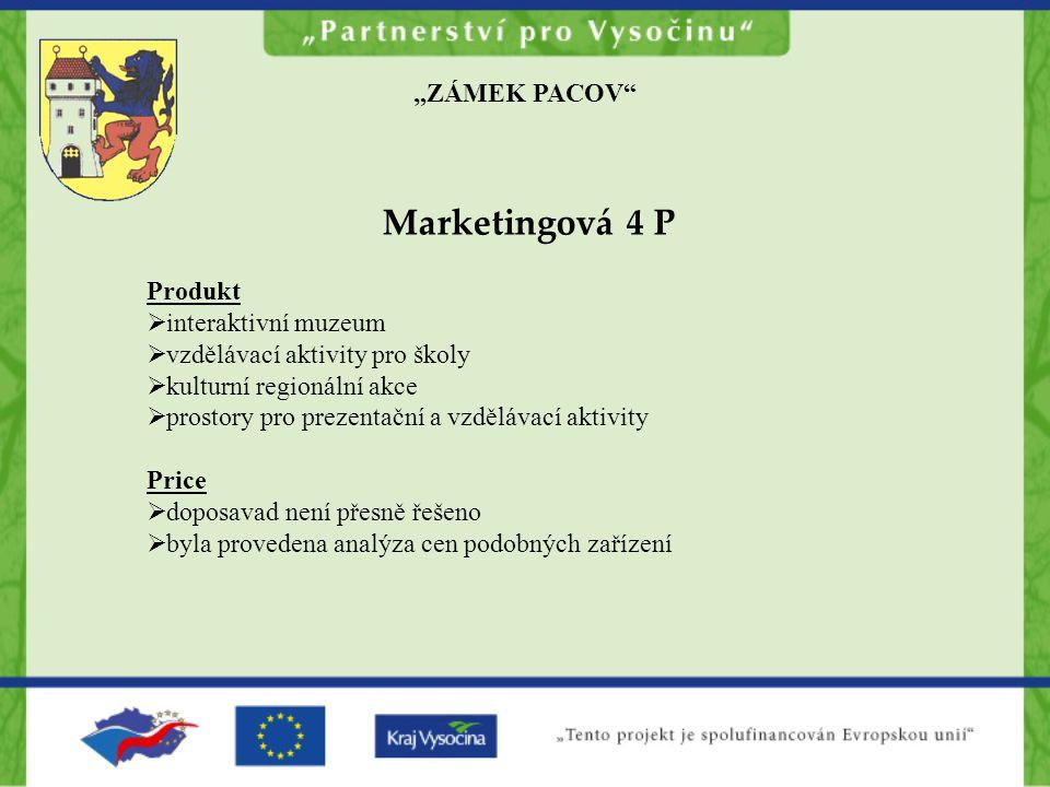 """Marketingová 4 P """"ZÁMEK PACOV Produkt interaktivní muzeum"""