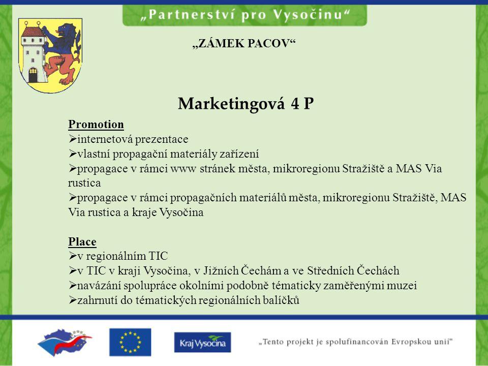 """Marketingová 4 P """"ZÁMEK PACOV Promotion internetová prezentace"""