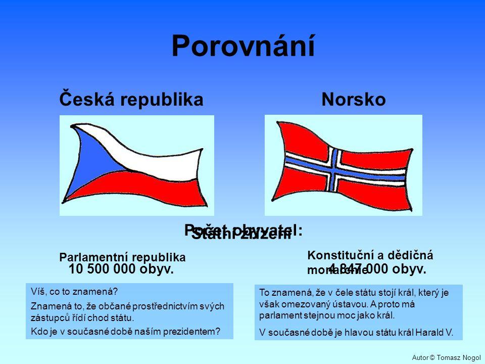 Porovnání Česká republika Norsko Počet obyvatel: Státní zřízení