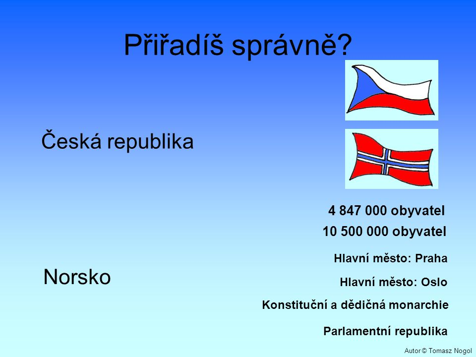 Přiřadíš správně Česká republika Norsko 4 847 000 obyvatel