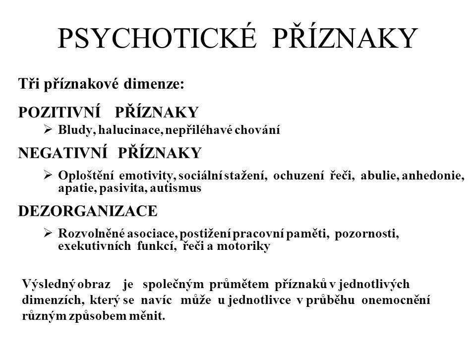 PSYCHOTICKÉ PŘÍZNAKY Tři příznakové dimenze: POZITIVNÍ PŘÍZNAKY