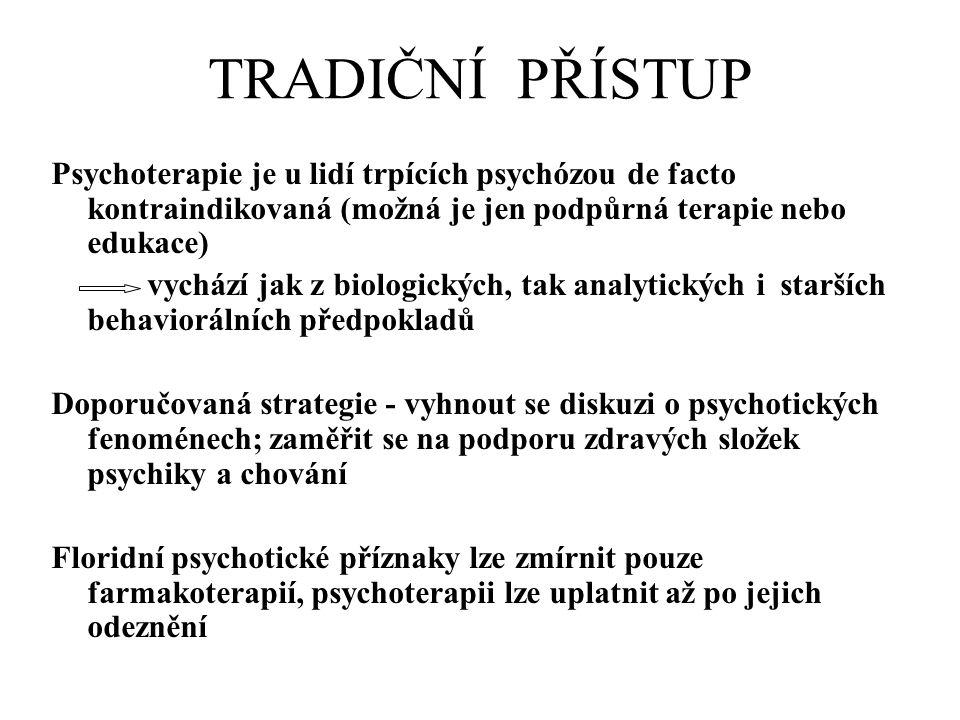 TRADIČNÍ PŘÍSTUP Psychoterapie je u lidí trpících psychózou de facto kontraindikovaná (možná je jen podpůrná terapie nebo edukace)