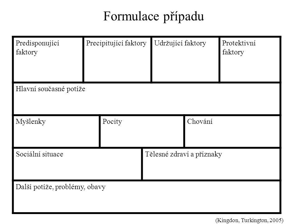 Formulace případu Predisponující faktory Precipitující faktory