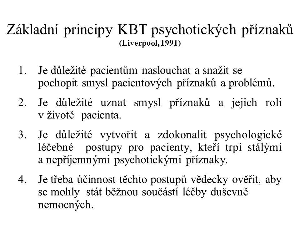 Základní principy KBT psychotických příznaků (Liverpool, 1991)