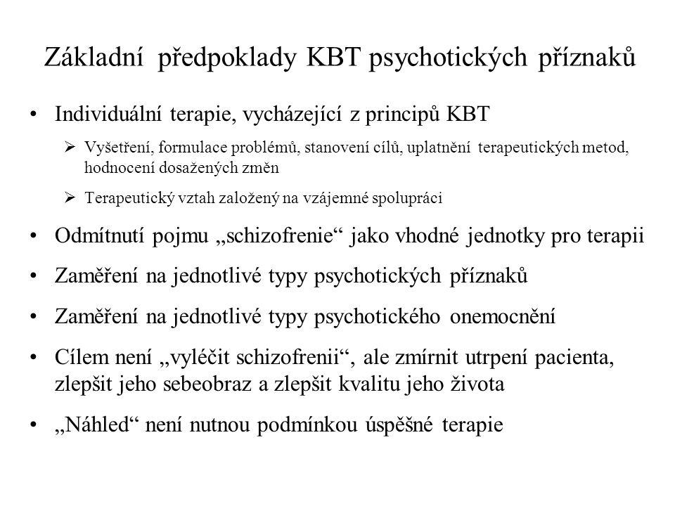 Základní předpoklady KBT psychotických příznaků
