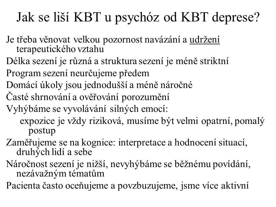 Jak se liší KBT u psychóz od KBT deprese