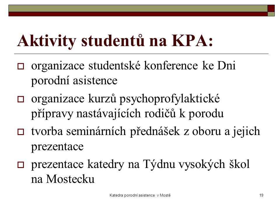 Aktivity studentů na KPA: