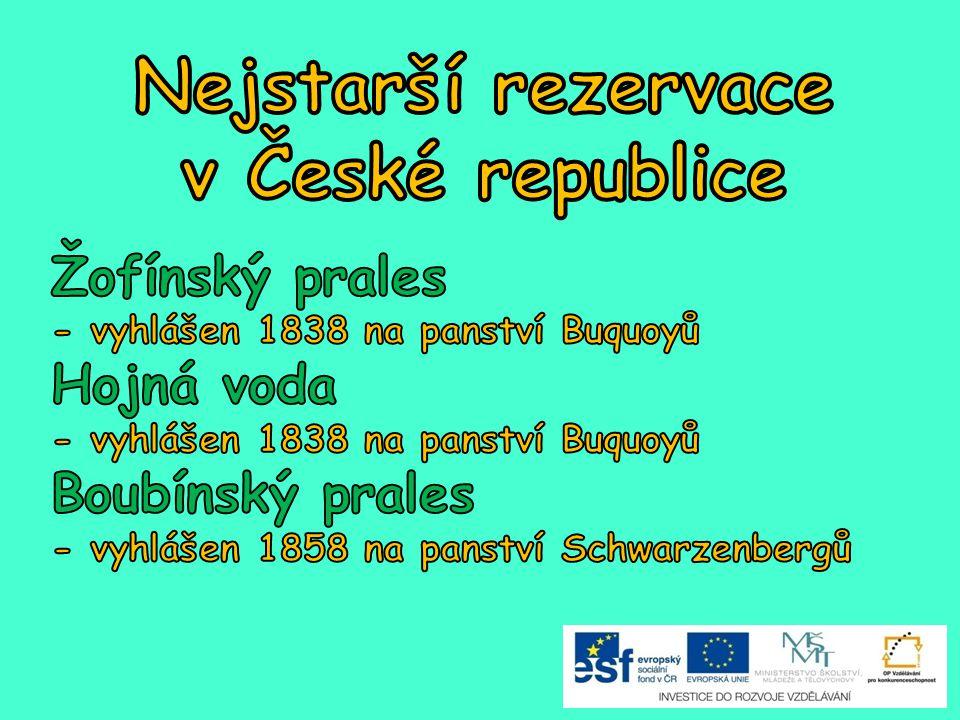 Nejstarší rezervace v České republice