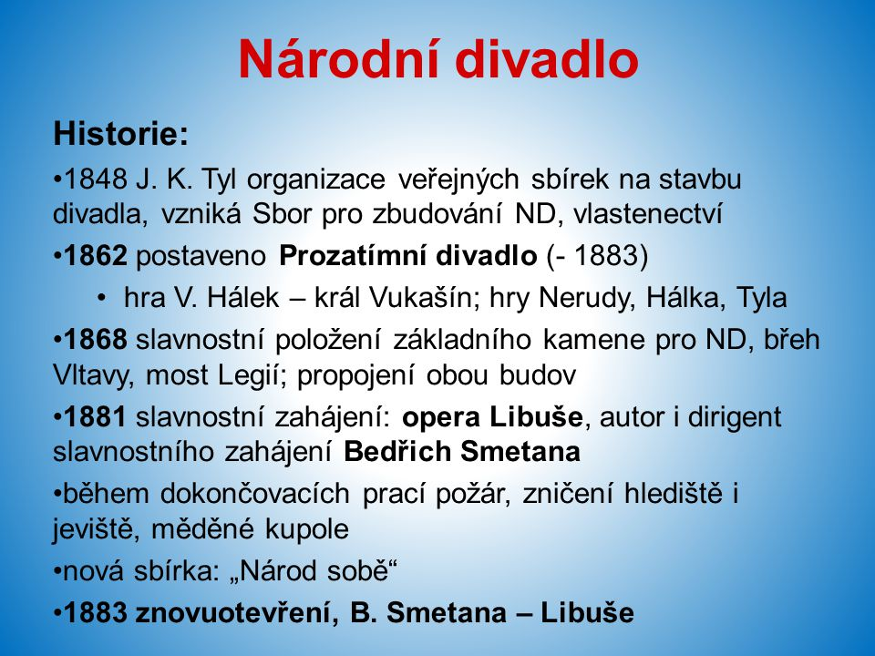 Národní divadlo Historie: