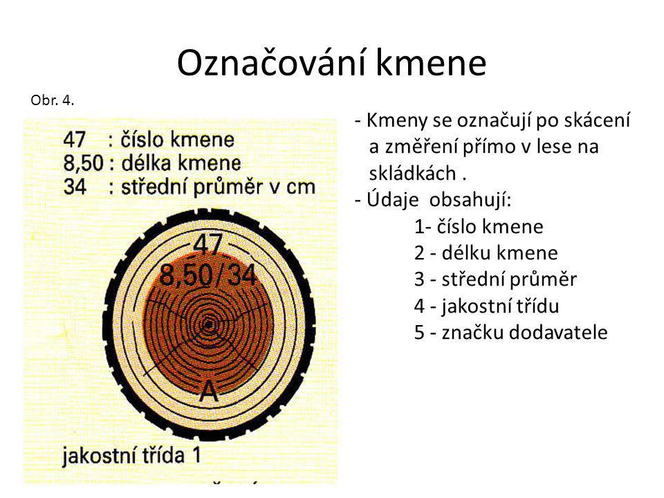 Označování kmene Kmeny se označují po skácení