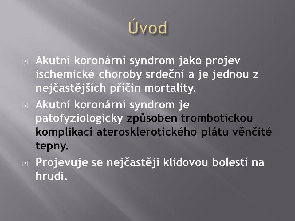 Úvod Akutní koronární syndrom jako projev ischemické choroby srdeční a je jednou z nejčastějších příčin mortality.