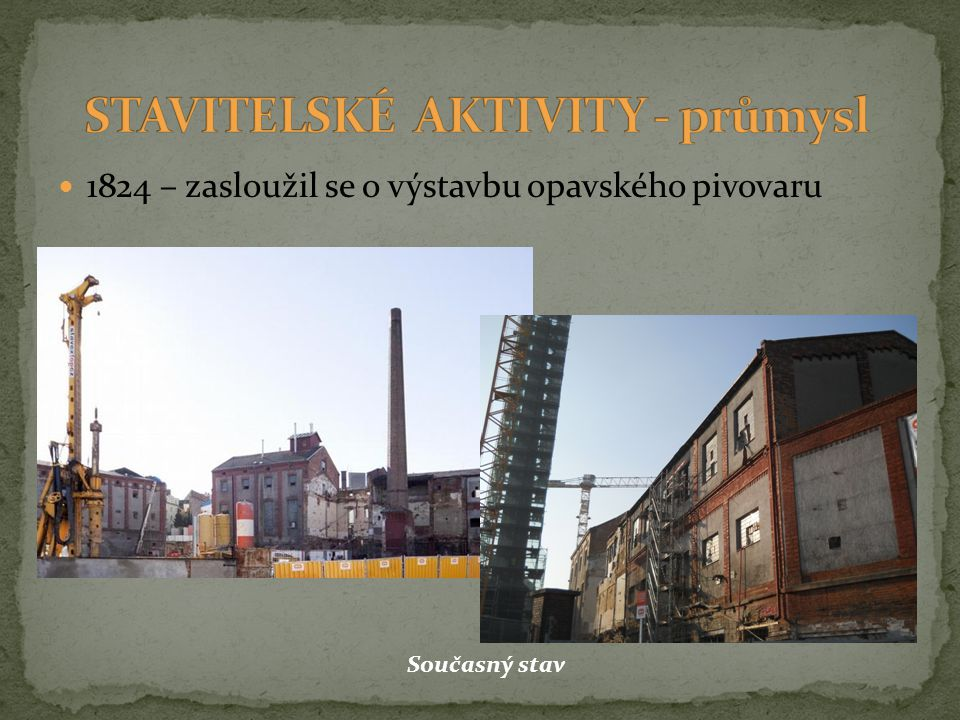 STAVITELSKÉ AKTIVITY - průmysl