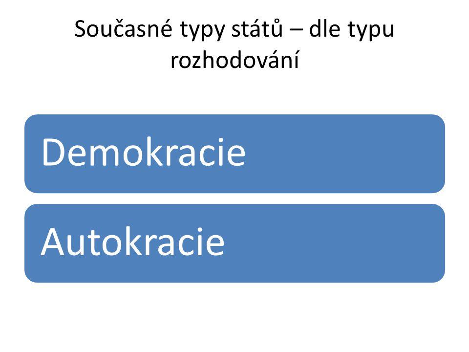 Současné typy států – dle typu rozhodování