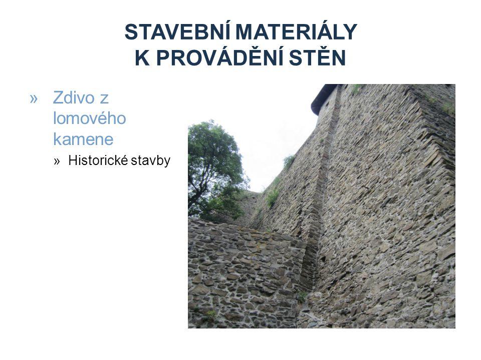Stavební materiály k provádění stěn
