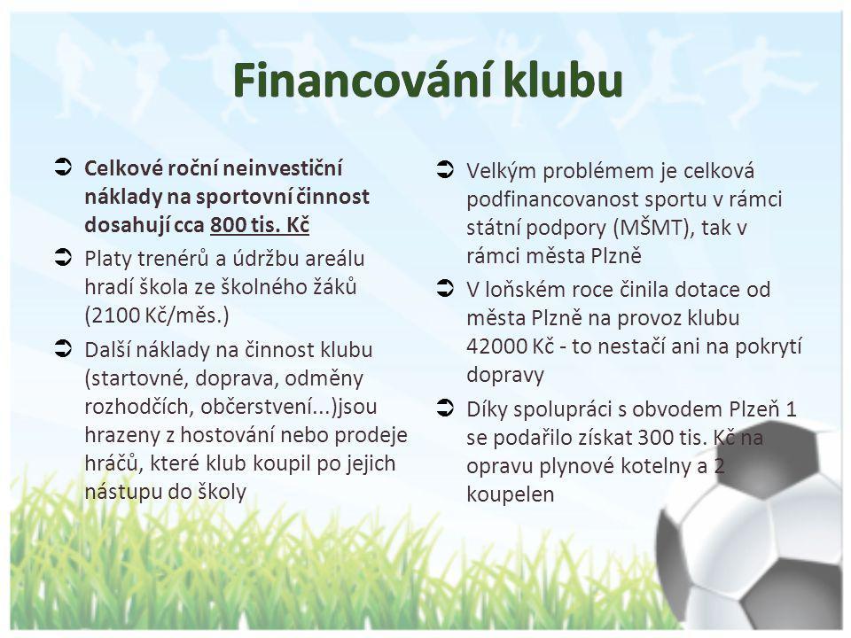 Financování klubu Celkové roční neinvestiční náklady na sportovní činnost dosahují cca 800 tis. Kč.