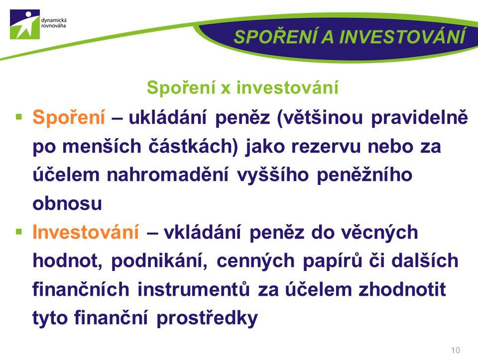 SPOŘENÍ A INVESTOVÁNÍ Spoření x investování.