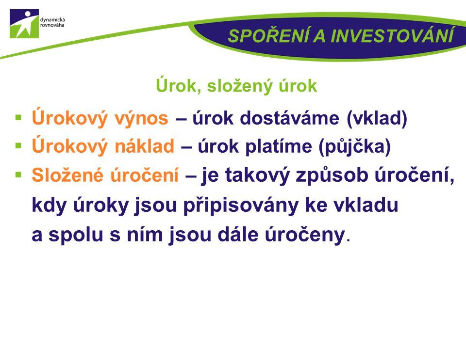 Úrokový výnos – úrok dostáváme (vklad)