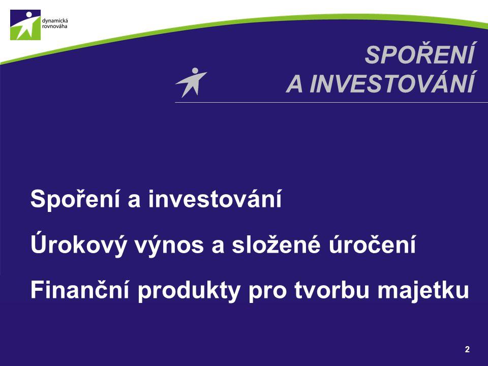 SPOŘENÍ A INVESTOVÁNÍ Spoření a investování Úrokový výnos a složené úročení Finanční produkty pro tvorbu majetku