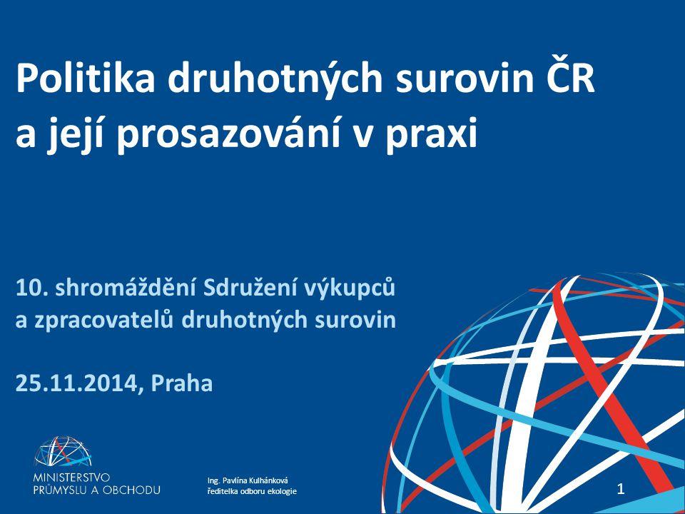Politika druhotných surovin ČR a její prosazování v praxi