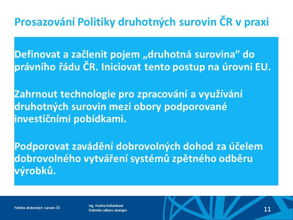 Prosazování Politiky druhotných surovin ČR v praxi