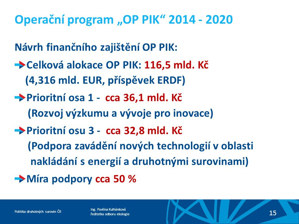 """Operační program """"OP PIK 2014 - 2020"""