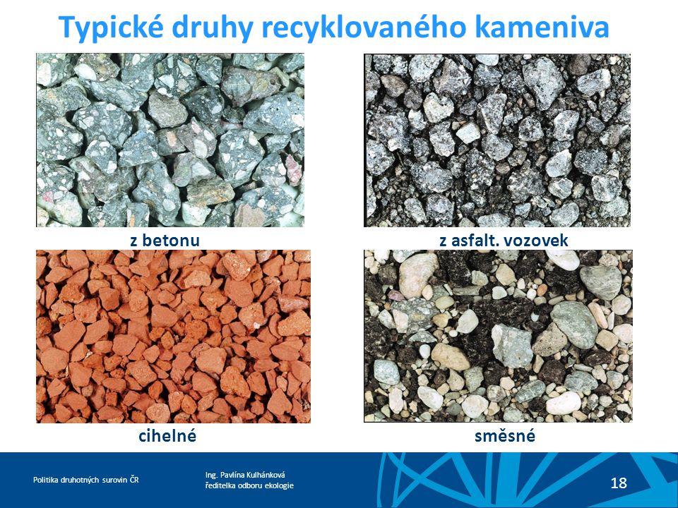 Typické druhy recyklovaného kameniva